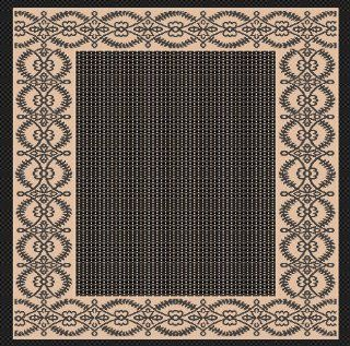 "3'x5' Indoor Outdoor Area Rug, Black, Beige 2'8""x 5'11"" Patio Pool Rug   Machine Made Rugs"