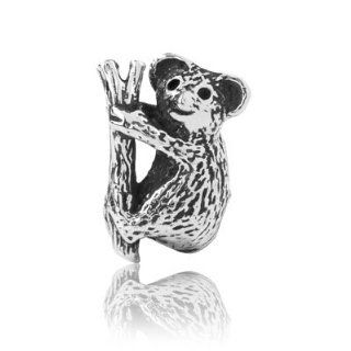 Sterling Silver Koala Bear Charm , Fits Pandora and All Other Brands Charm Bracelets and Necklace. Jewelry