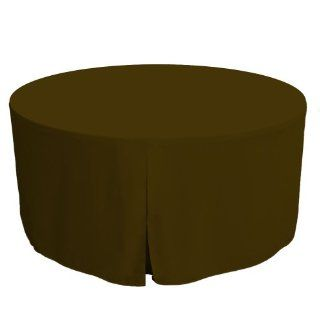 Tablevogue 60 Inch Fitted Round Folding Table Cover, Chocolate   Tablecloths