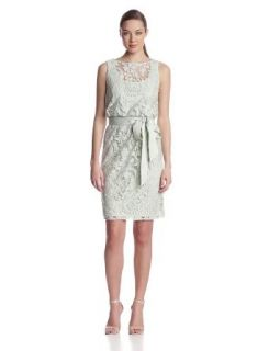 Adrianna Papell Women's Lace Bourson Dress with Sash