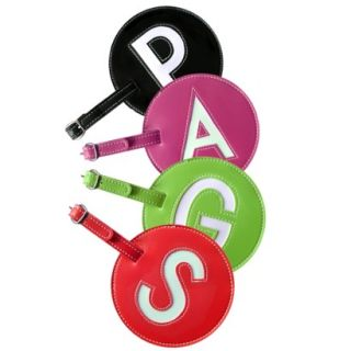 Pb Leather Initial Luggage Tags   Set of Two