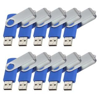 10Pcs 8GB 8G USB 2.0 Flash Drive Memory Stick Fold Storage Thumb Stick Pen Swivel Design Blue Computers & Accessories