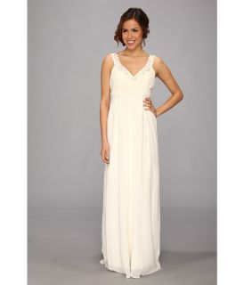 Nicole Miller Double Face Satin Silk Georgette Bridal Gown Womens Dress (White)