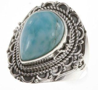 925 Sterling Silver LARIMAR Ring, Size 7.5, 7.45g Jewelry