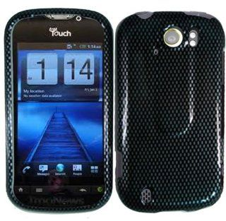 Black Carbon Fiber Design Snap on Hard Skin Shell Protector Faceplate Cover Case for Htc Mytouch 4g Slide + Lcd Screen Guard + Microfiber Pouch Bag + Case Opener Electronics