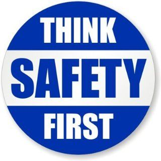 "Think Safety First, HatHuggersTM Conformable Vinyl Labels   Spot Colors, 5 Decals / Pack, 2"" x 2"""