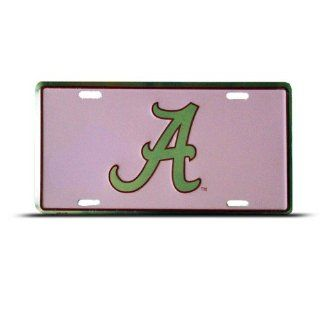 Alabama Pink Diamond Metal College License Plate Wall Sign Tag Automotive