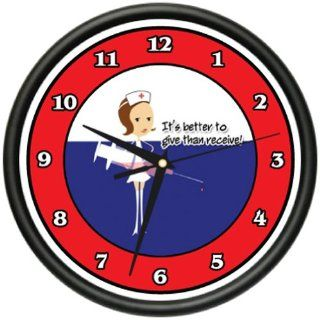 Shop NURSE 1 Wall Clock hospital medicine nurse scrubs sick patient care gag gift at the  Home Décor Store