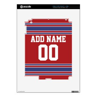 Team Jersey with Custom Name and Number Decals For iPad 2