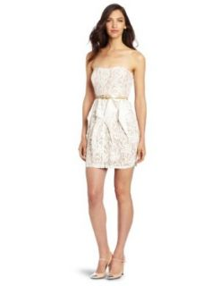 Jessica Simpson Women's Pointed Ruffle Skirt Strapless Dress, Seed Pearl, 10