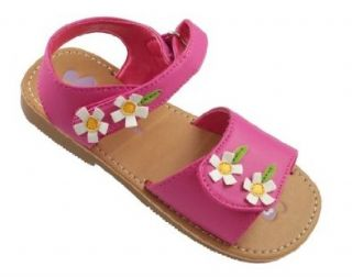 Laura Ashley Toddler Girl's Double Flower Applique Velcro Sandals in Fuchsia (7 (Fits as Size 6)) Shoes