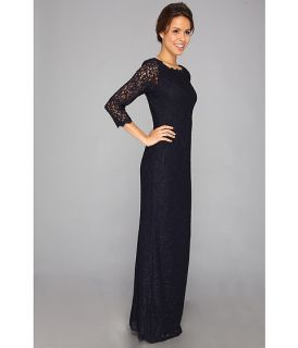 Adrianna Papell Long Sleeve Lace Gown Navy