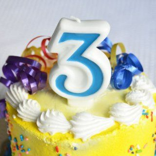 "Number ""3"" Numerals Birthday Party Cake Candle   Blue Kitchen & Dining"