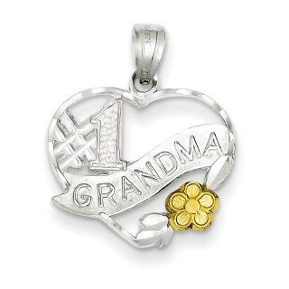Sterling Silver Number 1 Grandma Charm   Measures 3/4 Inch x 7/8 Inch   JewelryWeb Grandma Necklaces Jewelry