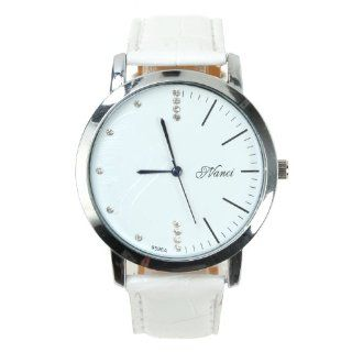 Yesurprise Couple Watches Pu Band Small Round White Face Rome Number Fashion Watch(Women) White at  Women's Watch store.