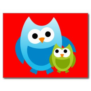 Owl Owls Birds Mom Baby Love Happy Cute Cartoon Postcards