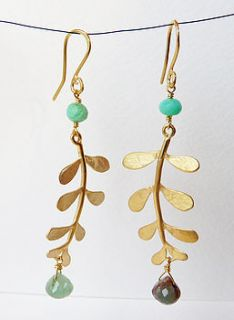 gold plated evie leaf gemstone earrings by blossoming branch