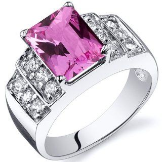 Radiant Cut 3.00 carats Created Pink Sapphire Cubic Zirconia Ring in Sterling Silver Rhodium Nickel Finish Available in Sizes 5 thru 9 Jewelry
