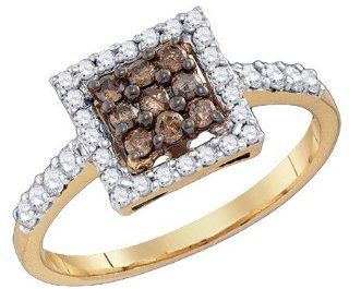 Wedding Ring Sets 0.51CTW COGNAC DIAMOND FASHION RING 10KT Yellow Gold Jewelry