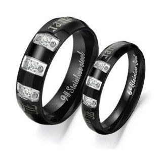 "Stainless Steel Triple Cubic Zirconia Gem ""Forever Love"" Engraved Couple Rings Set for Engagement, Promise, Eternity R020 (His Size 7,8,9,10; Hers Size 5,6,7,8). Please Email Sizes Jewelry"
