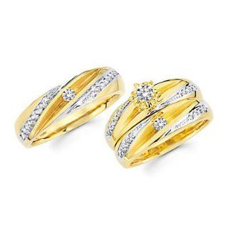 .56ct Diamond 14k Two Tone Gold Engagement Wedding Trio His and Hers 3 Ring Set (G H, I1) Jewelry