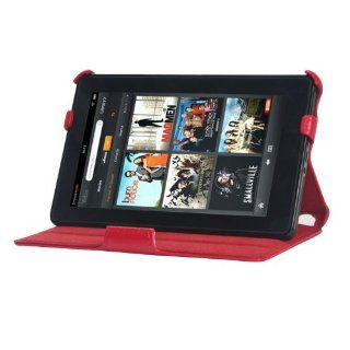 YooMee Red  Kindle Fire 7 Inch Android Tablet Leather Case Cover Folio with Multi Angle Stand and Hand Strap (Red with Red Interior)(NOT Compatible with Fire HD) Kindle Store