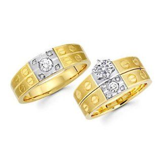 .44ct Diamond 14k Two Tone Gold Engagement Wedding Trio His and Hers Ring Set (G H, I1) Jewelry