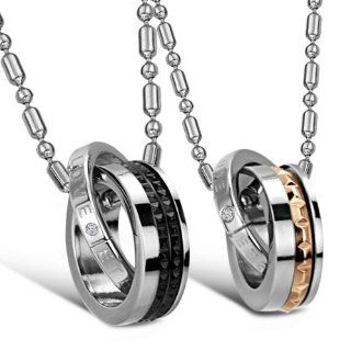 "JewelryWe New ""Eternal Love"" Stainless Steel Interlocking Double Rings Pendant Necklace Couples Jewelry Set (One Pair) Jewelry"