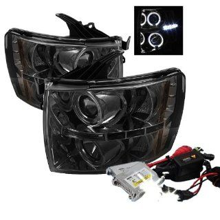 High Performance Xenon HID Chevy Silverado 1500/2500/3500 13 Halo LED ( Replaceable LEDs ) Projector Headlights with Premium Ballast   Smoke with 4300K OEM White HID Automotive
