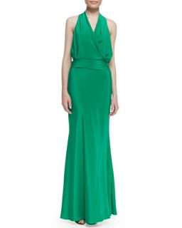Womens Silk Jersey Bow Back Halter Gown, New Pacific Green   Nicole Miller