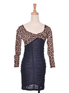 Leopard Cheetah Animal Print Sexy Slim Long Sleeve Ruched Black Party Dress