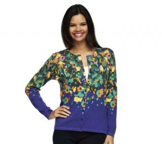 Isaac Mizrahi Live Collage Floral Print Long Sleeve Cardigan —