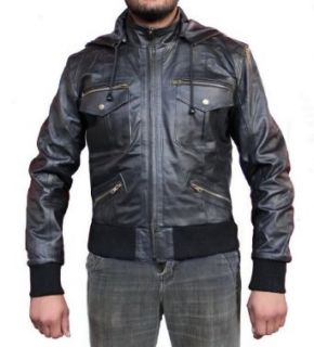 Leather Outfitters Men Hooded Leather Jacket with Rib (XXXXXX Large) at  Men�s Clothing store Leather Outerwear Jackets