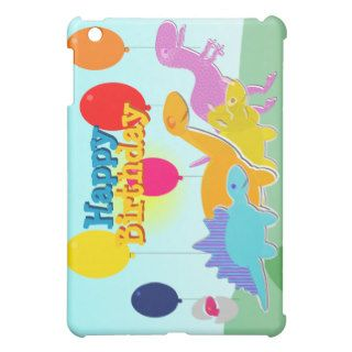 Happy Birthday Cartoon Dinosaurs iPad Case