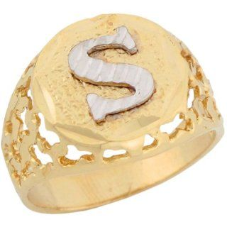 10k Two Tone Gold Unique Filigree Letter S Stylish Mens Initial Ring Jewelry