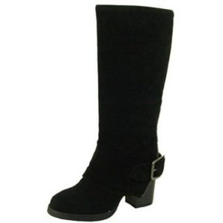 Qupid Rosdale 06 Buckle Fold Over Suede Knee High Boot BLACK Shoes