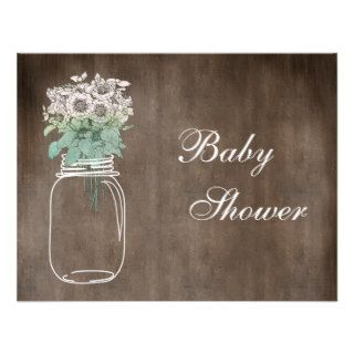 Mason Jar & Wild Flowers Rustic Baby Shower Personalized Invitation