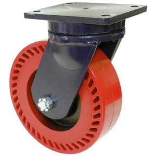 "RWM Casters 95 Series Plate Caster, Swivel, Kingpinless, Heavy Duty Forged Steel Wheel, Roller Bearing, 10000 lbs Capacity, 6"" Wheel Dia, 3"" Wheel Width, 8 1/2"" Mount Height, 7 1/2"" Plate Length, 6 1/4"" Plate Width Industrial &"