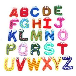SODIAL Funky Fun Colorful Magnetic Letters A Z Wooden Fridge Magnets Kid toys Education Toys & Games