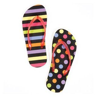 Little Miss Matched Flip Flops for Adults (Medium US 7 8, Multicolored Stripes and Dots on Black Background) Shoes