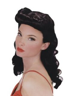 Black Pin Up Wig Retro Sexy Costume Wig 30s 40s Adult Sized Costumes Clothing