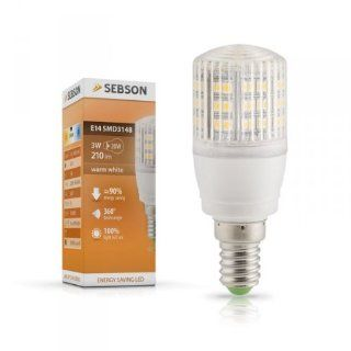 SEBSON E14 LED Lampe 3W 240lm (Ersetzt 25W) [Warm Wei�   SMD LED Leuchtmittel   360� Abstrahlwinkel] (ehemals 210lm) Beleuchtung