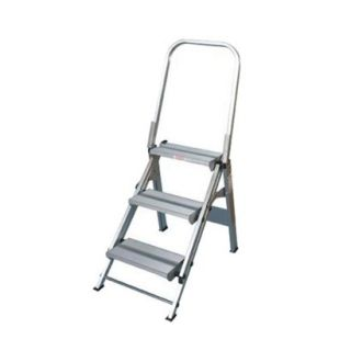 Xtend & Climb Extra Wide 3 Step Ladder  Silvertone