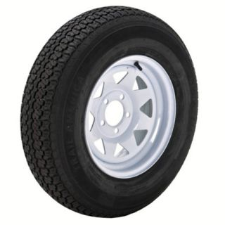 Trail America 5.30 x 12 Bias Trailer Tire 5 Lug Spoke White Rim 98298