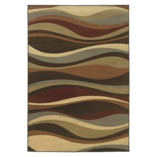 Contemporary Waves Area Rug   Brown