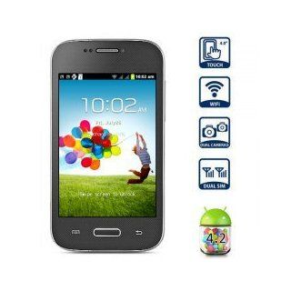 4 Zoll Mini S4 Android 4.2 Smart Phone SMDK4x12 1GHz HVGA Screen Doppel SIM Quad Band WiFi   Schwarz Elektronik