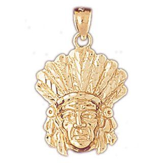 14K Yellow Gold Indian Head Pendants Jewelry
