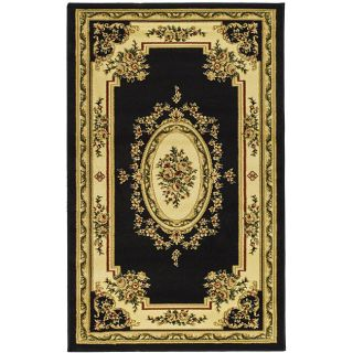 Lyndhurst Collection Black/ Ivory Area Rug (33 X 53)
