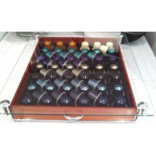 DecoBros Crystal Glass Wood Nespresso Storage Drawer Holder for Capsules