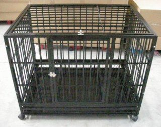"48"" Black Commercial Quality Heavy Duty Pet Dog Crate w/Wheels  Pet Kennels"
